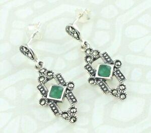 Art Deco Style 925 Sterling Silver Green Agate & Marcasite Dangle Stud Earrings