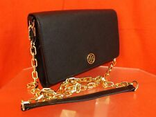 NWT TORY BURCH ROBINSON BLACK LEATHER GOLD CHAIN WALLET CROSSBODY CLUTCH BAG