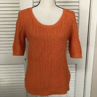 New $89 Lauren Ralph Lauren Crochet Knit Sweater Womens L Orange Linen Blend Top