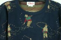 Vintage Orvis Fly Fishing Sweater Men's Large Cotton Fair Isle Knit Pullover USA
