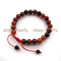 New 8mm Red Agate Gem Tibet Buddhist Prayer Beads Mala Bracelet