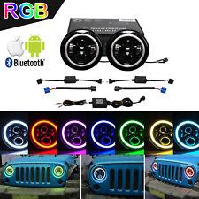 2X 7inch 40W RGB Halo Ring  LED Headlight W/Bluetooth for Jeep Wrangler JK TJ TJ