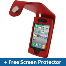 RED Leather Case for Apple iPhone 4 HD & iPhone 4S 16GB 32GB 64GB Cover Bumper