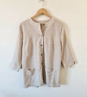 COTSWOLD COLLECTIONS STRIPED LINEN BLEND TUNIC TOP SIZE 16