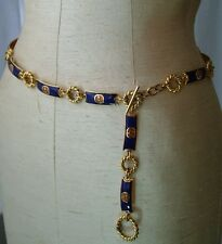 Vintage GUCCI Blue & Amber Enamel Gold Rope Chain Belt 70s