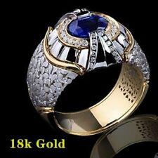 Diamond Ring Party Wedding Rings Sz 7 Men Fashion Jewelry 18K Gold Blue Sapphire