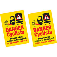 2 x Danger Cyclists Beware When Vehicle Turning Left Vinyl Sticker HGV Lorry Van