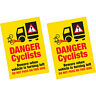 2 x Danger Cyclists Beware When Vehicle Turning Left Vinyl Sticker HGV Lorry Van