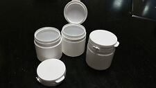 Lot of 60 white PET plastic jars, 150ml/5.07oz, sealed snap on cups