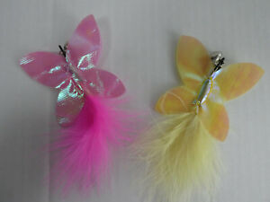 (CR032) Cat Kitten Toy Refill for Retractable Wands Butterfly with Feather  Bell