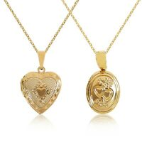 New 9ct Gold Locket Pendant Necklace Chain