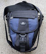 Padded blue and black camera bag for DSLR cameras