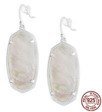 Sterling Silver White Pearl Shell Stone Elle Scott Style Oval Drop Earrings