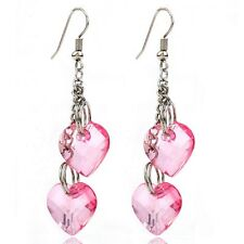 Handcrafted Silver Plated Pink Heart Earrings Crystal Heart Dangle Drop Earrings