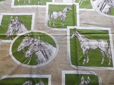Unusual Satin Cotton Interiors Fabric Green Horses Cameos 127cm x 117cm