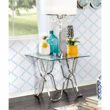 Furniture of America Hobbs Square Glass Top End Table in Chrome
