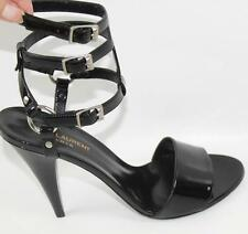 AUTH YSL Yves Saint Laurent Black Patent Leather Sandal Heel Shoes 40.5