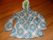 Girl's Size Large 6X Pacific Trail Puffer Jacket Winter Coat White Blue Green