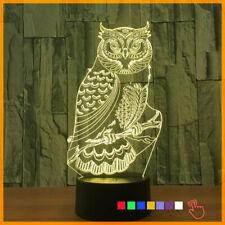3D Harry Potter Owl Night Light LED Illusion Table Desk Lamp Xmas Gift 7 Color