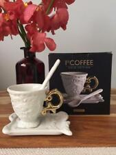NEW Seletti White & Gold Kitchen Porcelain Coffee Cup Saucer Set Tea Tableware