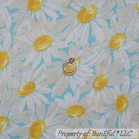 BonEful Fabric FQ Cotton Quilt VTG Aqua Blue Yellow White Flower Daisy Girl Dot