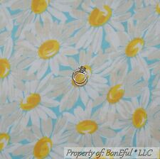 BonEful Fabric FQ Cotton Quilt VTG Aqua Blue Yellow White Flower Daisy Girl Dot