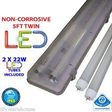 5FT TWIN LED 2 X 22W - NON CORROSIVE WEATHERPROOF FLUORESCENT LIGHT FITTING - IP