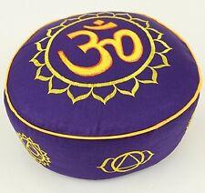 Coussin de méditation - Zafu Yoga - Violet avec OM et Chakras brodés