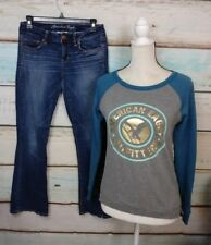 LOT OF AMERICAN EAGLE OUTFIT SWEATER XS LIGHTLY DISTRESSED JEANS SZ. 4