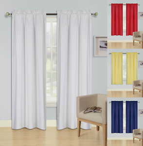 SOLID ROOM DARKENING BLACKOUT ROD POCKET LINED 2 SINGLE PANELS CURTAIN DECOR R64