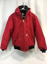 Carhartt 125 Flannel Quilted Lined Mens Small Red Hooded Duck Coat Jacket USA