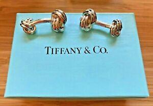 TIFFANY & COMPANY STERLING SILVER DOUBLE LOVE KNOT CUFFLINKS 925 ORIGINAL BOX