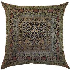 "24 "" Large Blue Handmade Silk Brocade Pillow/Cushion Cover/Throw Ethnic Decor"