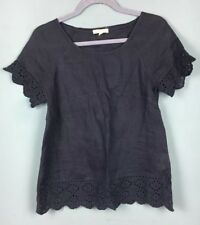 White Stuff Navy Linen Broderie Anglaise Trim Scalloped Blouse Top Size 8 B43
