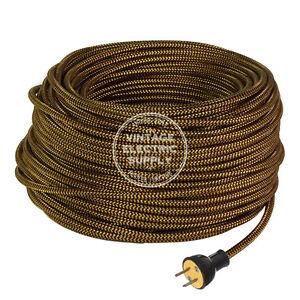Copper Black ZigZag Cordset - Cloth Covered Rewire Set - Antique Lamp & Fan Cord