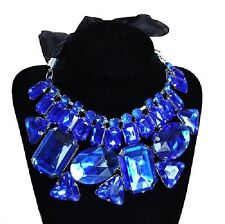 Necklace big Rhinestone ROYAL BLUE Wedding Choker Fabric tape NEW