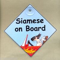 NEW DESIGN! SIAMESE ON BOARD - LAMINATED CAT IN CAR SIGN  BY SUZANNE LE GOOD