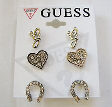 """NEW-SET OF 3 GUESS SILVER TONE EARRINGS;HEART,HORSE SHOE+CRYSTAL """"G"""" STUD"""