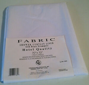 """New Creative Bath Shower Curtain Fabric Liner 70"""" X 72"""" White Mildew resistant"""
