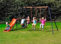 Hedstrom Europa Double Slide Swing & Glider Set - Kids Garden Set