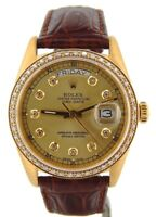 Mens Rolex Day-Date President 18K Yellow Gold Watch Diamond Dial 1ct Bezel 18038