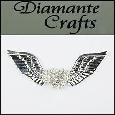 3d Alas de ángel y corazón Aleación De Plata Incrustaciones En Claro Diamantes Decoden 3cb2013