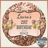 Personalised Glitter Effect Stickers - Birthday Party Labels Hen Stag Rose Gold
