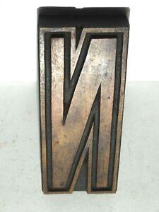 Wooden letterpress, printing block / type,  letter ' N ' 15 cm high. C 1900.