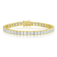 Cubic Zirconia Tennis Bracelet Gold Plated Silver 4x4mm Square White CZ