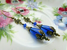 ROYAL BLUE VINTAGE STYLE EARRINGS - SWAROVSKI ELEMENTS - CELTIC