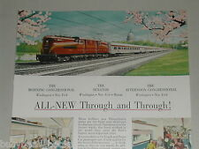 1952 PENNSYLVANIA RR advertisement, Pennsy locomotives GG1 Electric 4912