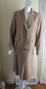 Talbots -Sz 14 16 Rich Light Wool Camel Suit - Classic Jacket + Longer Skirt