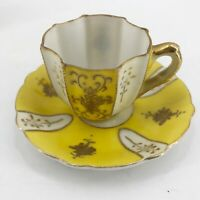 Occupied Japan Ardalt Small Petite Tea Cup Saucer Antique Lenwile China Yellow