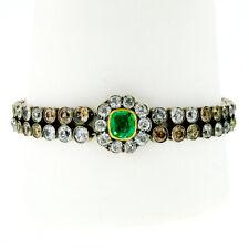 Antique Silver 14k Gold 19.09ctw GIA Emerald & Old Cut Colored Diamond Bracelet